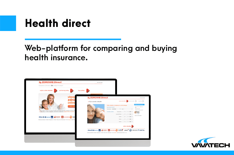 Web platform for insurance company, made by Vavatech